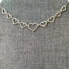 Avon Gold Tone Hearts Necklace