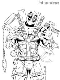 Deadpool Coloring Pages Printable Hero And Villain Amazing Pictures