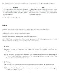 Affiliate Marketing Agreement Template Hedonia Co