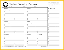 Student Weekly Planner Template Student Schedule Template Word