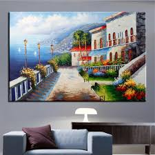 no frame printed window to the mediterranean landscape oil painting canvas prints wall art pictures for on mediterranean canvas wall art with no frame printed window to the mediterranean landscape oil painting