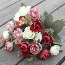 2019 artificial rose bunch 21 heads roses simulated oil painting effect flowers red pink cream burdy purple rose flowers from sojo 369 85 dhgate com