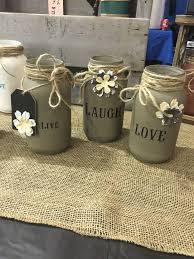 set of 3 hand painted and stenciled mason jars made to order please note