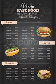 Food Menu Design Drawing Vertical Color Fast Food Menu Stock Vector Colourbox