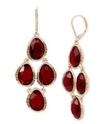 kenneth cole new york garnet stone chandelier statement earrings