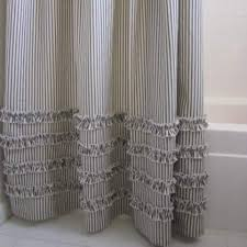 brown and cream shower curtain. ruffled ticking stripe shower curtain black, brown, gray, navy, red brown and cream