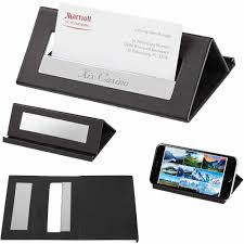 black executive desk card holder and a stand imprinted