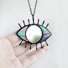 iridescent evil eye mirror necklace