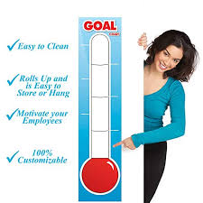 Fundraising Thermometer Dry Erase Goal Board 48 X 11