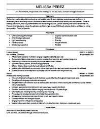 Resume Templates For Nanny Incredible Example Babysitter Nanny