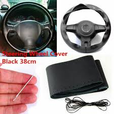 38cm car auto diy black genuine leather steering wheel cover wrap sew on kit