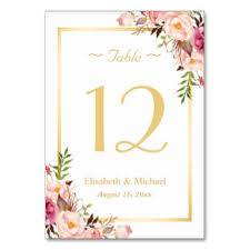 elegant_chic_pink_floral_gold_wedding_table_number rc37e99db5afb4ac4a6a6d305b994e205_i40g8_8byvr_324 number table cards & place cards zazzle co uk on wedding table number cards uk