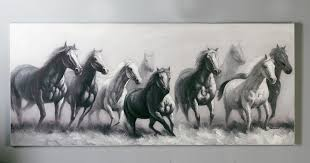 oil painting horses canvas on devotailed wooden frame grey black with and white paintings design 14