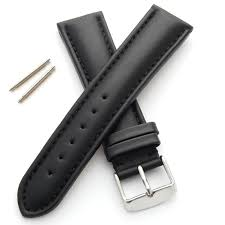 genuine leather watch strap padded and stitched 18mm black m