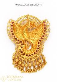 22k gold peacock pendant temple jewellery 235 gp3197