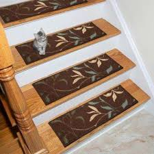 ottohome collection chocolate 9 in x 26 in rubber back stair tread set