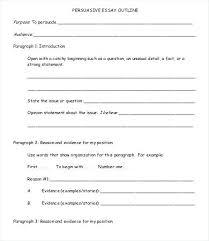 Persuasive Essay Outline Examples Sample Persuasive Essay Outline