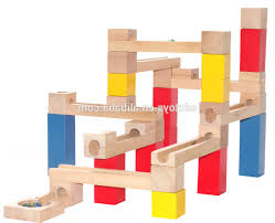 wooden block game marble run play