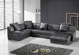omega modern black leather sectional sofa
