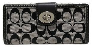Unused coach long wallet signature wallet Lady s black black turn lock COACH  canvas F43609 folio wallet folio long wallet