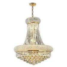empire 14 light polished polished gold chandelier with clear crystal