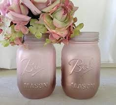Decorated Jars For Weddings Amazon Set of 100 Rose Gold and Blush Pink Painted Mason Jars 88