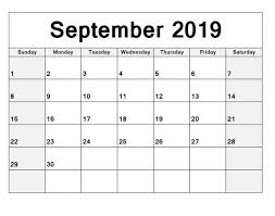 Free Printable Calendar September 2019 Monthly Planner