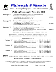 Best Photos Of Photography Price List Template Photography