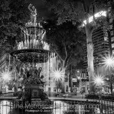 Black White Photography Print Of The Hebe Fountain In Court Square