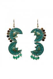 zerokaata golden turquoise brass chandelier earrings