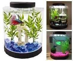 Betta Fish Tank 1 1 Gal Clear Plastic Half Moon Shaped Led