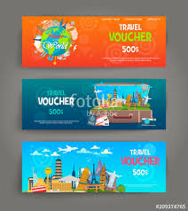 travel voucher template free vector set of gift travel voucher template for a festive