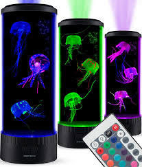 Sensorymoon Large Led Jellyfish Lava Lamp Aquarium Electric Round Jellyfish Tank Mood Light With 3 Fake Glowing Jelly Fish 20 Color Changing