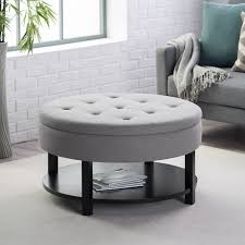 round tufted coffee table simple coffee table fabric storage ottoman with tray round footstool