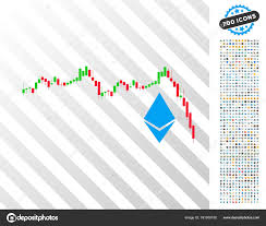 Cox Stock Chart Ethereum Falling Chart Flat Icon With Bonus Stock Vector