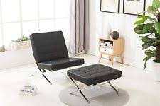 Premium Barcelona Style Modern Design Lounge Leather Chair with Ottoman