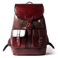 santa cruz brown classic quality full leather backpack