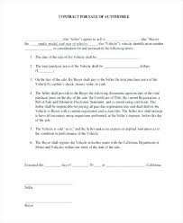 Sample Vehicle Purchase Agreement Car Contract – Celebratelife