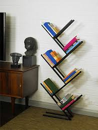 Furnitures:Black Modern Angled Free Standing Bookshelf Near Mid Century  Media Cabinet Black Modern Angled