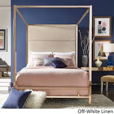 Evie Champagne Gold Metal Canopy Bed with Linen Panel Headboard by iNSPIRE Q  Bold (Full Size - Dark Grey Linen), Black