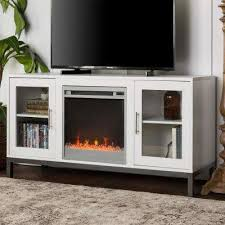 avenue wood fireplace tv console with metal legs in white