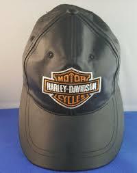 vintage harley davidson black leather baseball style cap hat one size fits all k