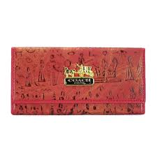 Coach Egyptian Wall Painting Large Red Wallets EEC