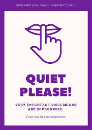 Quiet Please Meeting In Progress Sign Magenta Quiet Icon Conference Signs Poster Templates By Canva