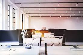 modern office ceiling. Modern Office With Computers On Desks, Windows, Lamps And Ceiling Lights.  Concept Of Modern