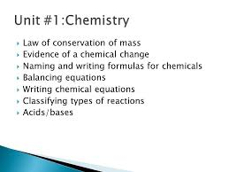 2 law of conservation of mass evidence of a chemical change naming and writing formulas for chemicals balancing equations writing chemical