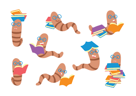 bookworm cartoon set