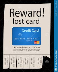 Here Is A Posted Reward Poster For A Lost Credit Card Stock