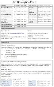 Work Description Form Job Description Form Template Sample Job Description