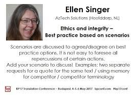 Ellen Singer: Ethics and integrity - Best practice based on ...